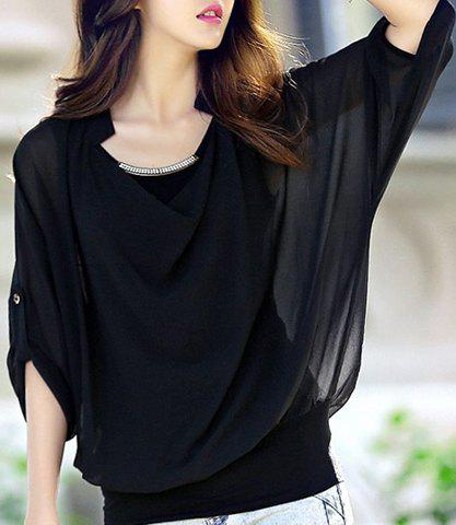 Solid Color Stylish Scoop Neck Bat-Wing Sleeve Sequin Embellished Loose-Fitting Chiffon Women's Blouse - BLACK ONE SIZE