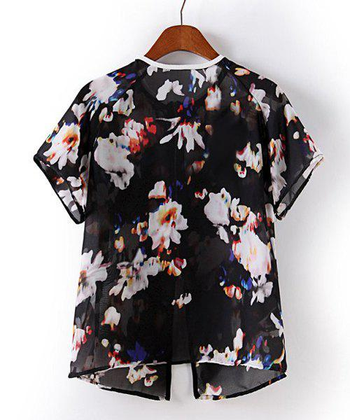 Floral Print Round Collar Short Sleeve Zipper Chiffon Trendy Style Women's Blouse - BLACK S
