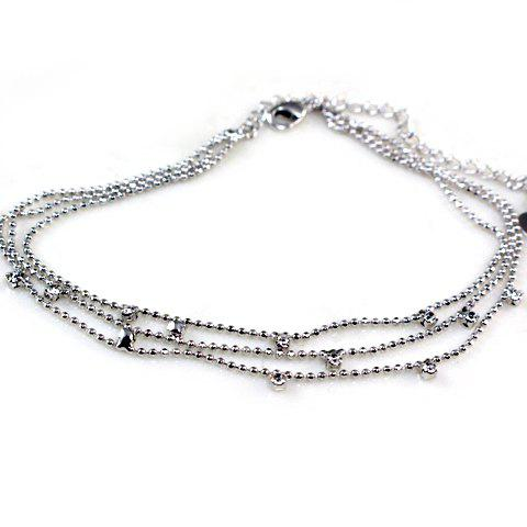 Heart Rhinestone Layered Anklet - SILVER