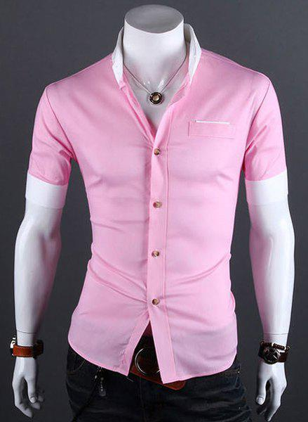 Stylish Shirt Collar Color Block Cuffs Short Sleeves Polyester Shirt For Men - PINK M