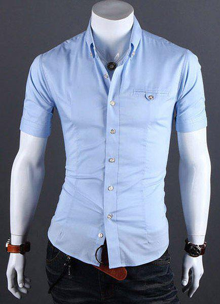 Casual Style Shirt Collar Metal Buttons Slimming Short Sleeves Polyester Shirt For Men - AZURE 3XL