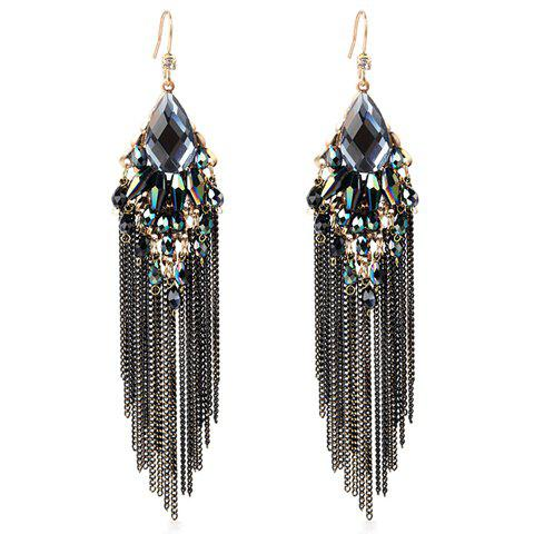Pair of Long Fringed Alloy Earrings - BLACK