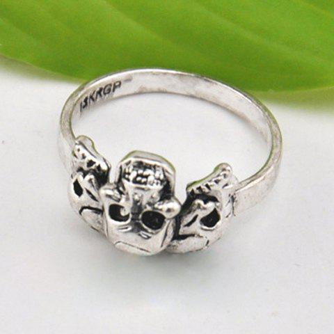 Retro Punk Solid Color Skull Ring For Women