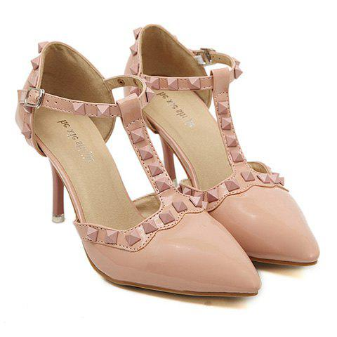 Sweet T-Strap and Rivets Design Pumps For Women - PINK 39