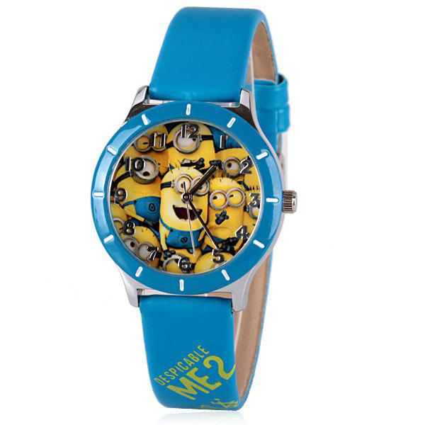 Unique Quartz Watch with Bee-do Pattern Leather Watch Band for Women - BLUE