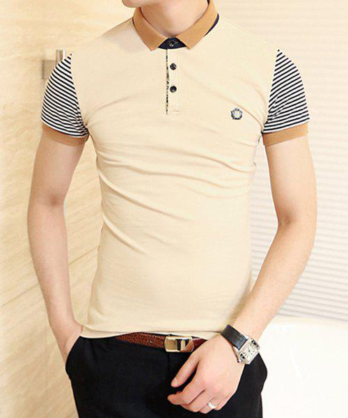Trendy Color Block Turn-down Collar Stripes Short Sleeves Polyester Polo Shirt For Men - BEIGE M