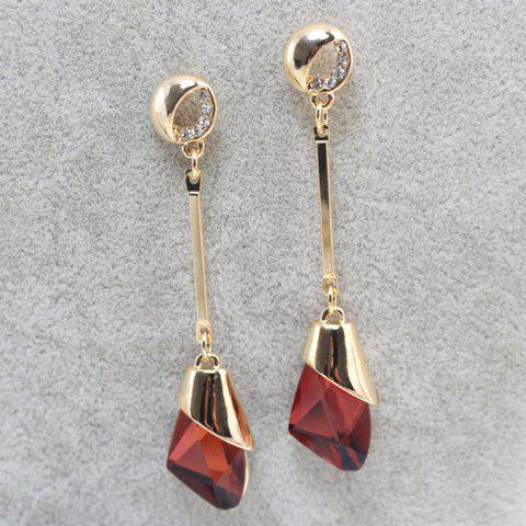 Pair of Faux Crystal Long Drop Earrings - CLARET