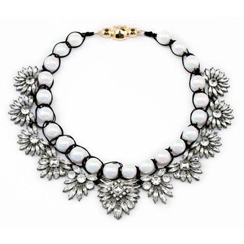 Transparent Flower Embellished Beaded Necklace - WHITE