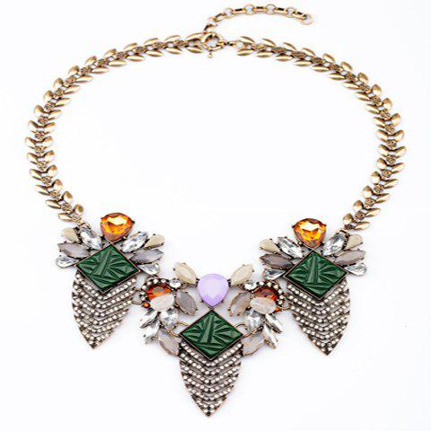 Vintage Chic Diamante Colored Pendant Leaf-shaped Alloy Necklace For Women - COLORFUL