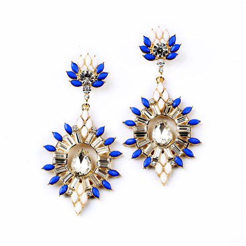 Pair of Fashion Colored Beaded Earrings For Women - BLUE