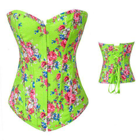 0374127ae5e Sexy Slimming Lace-Up Floral Print Polyester Corset For Women - GREEN M