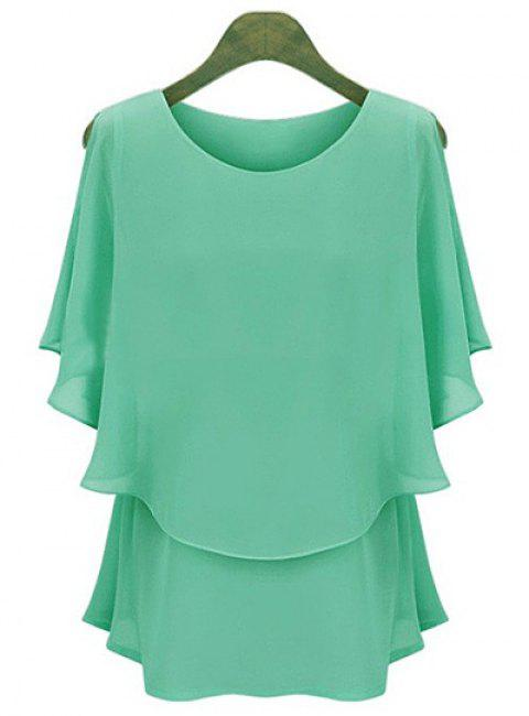 Elegant Scoop Neck Short Sleeve Faux Twinset Design Ruffled Blouse For Women - GREEN XL