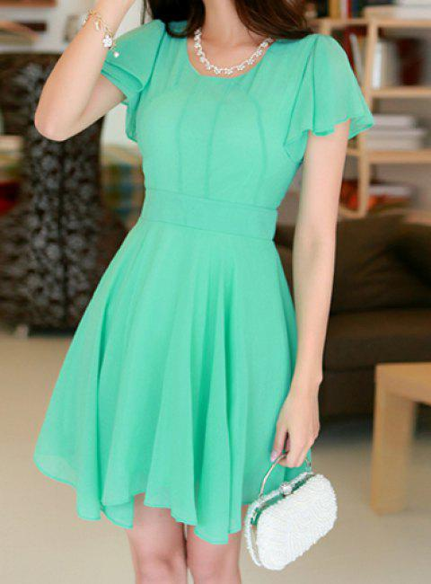 Stylish Scoop Neck Short Sleeve Solid Color Chiffon Dress For Women - WATER BLUE M