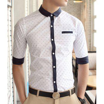 Casual Style Shirt Collar Stains Print Color Block Cuffs