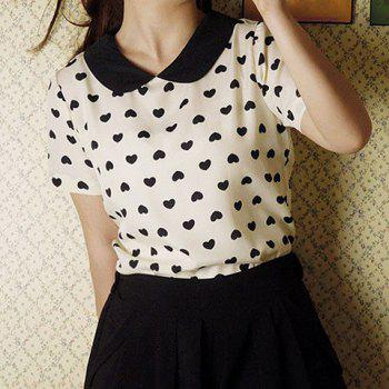 Heart Print Peter Pan Collar Short Sleeve Chiffon Sweet Style Women's Blouse