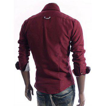 Stylish Shirt Collar Checked Purfled Applique Pocket Long Sleeves Polyester Shirt For Men - WINE RED WINE RED