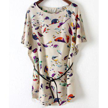Trendy Style Scoop Collar Short Sleeve Full Bird Print with Sashes Women's Dress