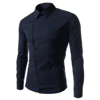 Fashion Solid Color Oblique Button Shirt Collar Long Sleeve Slimming Polyester Shirt For Men - DEEP BLUE DEEP BLUE