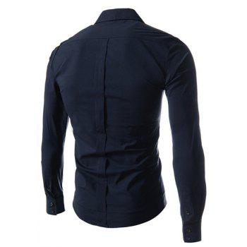 Fashion Solid Color Oblique Button Shirt Collar Long Sleeve Slimming Polyester Shirt For Men - DEEP BLUE 175
