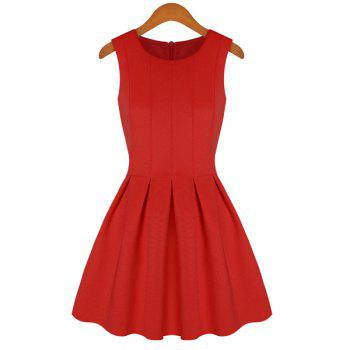 Solid Color Flouncing Scoop Collar Sleeveless Simple Style Women's Sundress - RED RED
