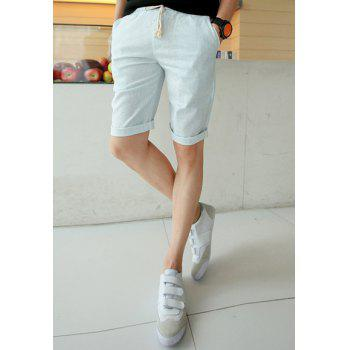 Summer Style Slimming Drawstring Straight Leg Cotton Men's Shorts - 2XL 2XL