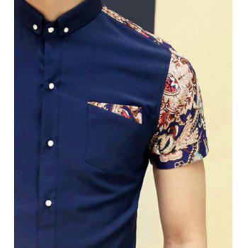 Fashion Style Turn-down Collar Floral Print Color Block Short Sleeves Cotton Shirt For Men - M M