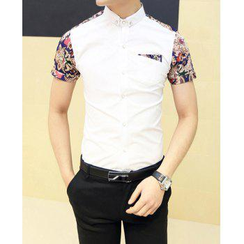 Fashion Style Turn-down Collar Floral Print Color Block Short Sleeves Cotton Shirt For Men - WHITE WHITE