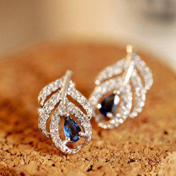 Pair of Cute Stylish Rhinestone Openwork Leaf Earrings For Women
