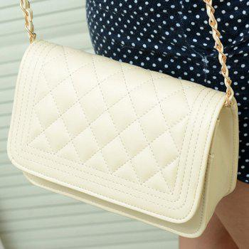 Gorgeous Checked and Chains Design Crossbody Bag For Women - OFF WHITE