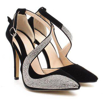 Stylish Rhinestones and Openwork Design Pumps For Women - BLACK 38