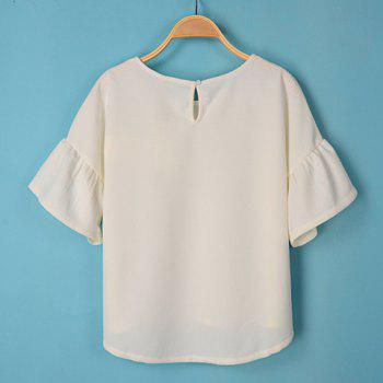Solid Color Scoop Collar Flare Sleeve Simple Style Women's T-Shirt - M M