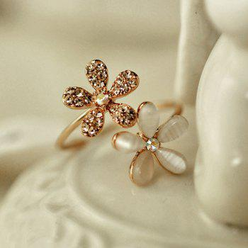 Chic Diamante Flower Ring For Women - AS THE PICTURE ONE-SIZE