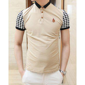 Summer Style Turn-down Colloar Checked Print Shorts Sleeves Cotton Polo Shirt For Men - KHAKI KHAKI