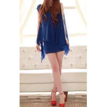 Women's Charming Irregular Hem Sleeveless Chiffon Dresses - BLUE BLUE