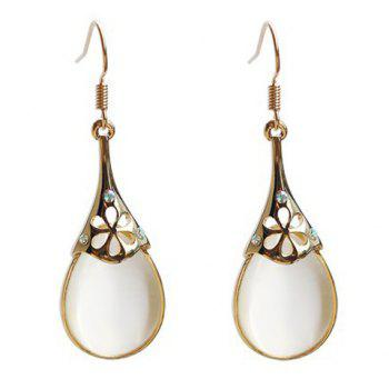 Pair of Rhinestone Faux Opal Drop Earrings