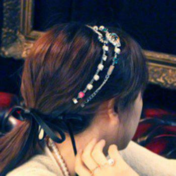 Chic Stylish Lace Up Rhinestone Flower Hairband For Women -  GOLDEN