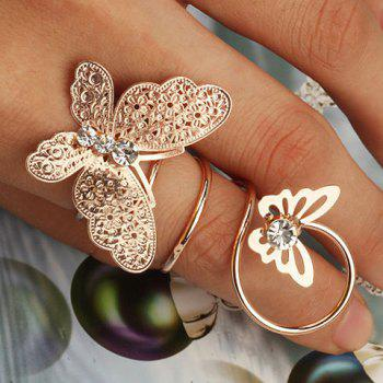 Diamante Hollowed Double Butterfly Ring