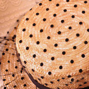 Trendy Bowknot Decorated Polka Dot Sun Hat For Women -  FLAXEN