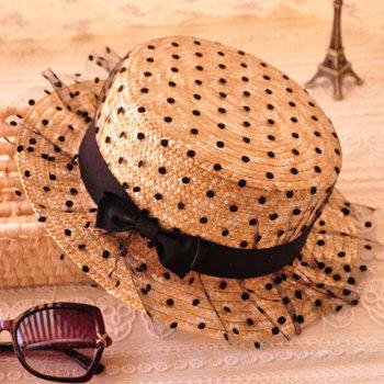 Trendy Bowknot Decorated Polka Dot Sun Hat For Women - FLAXEN FLAXEN