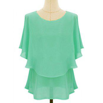 Women's Casual Scoop Neck Solid Color Batwing Sleeves Chiffon Blouse - LIGHT GREEN LIGHT GREEN