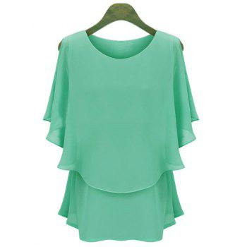 Women's Casual Scoop Neck Solid Color Batwing Sleeves Chiffon Blouse