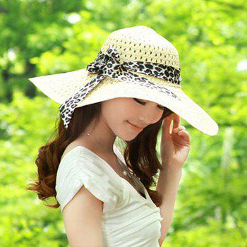Stylish Bowknot Decorated Openwork Sun Hat For Women