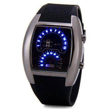 Luxury LED Newest Car Watch with Digital Indicate Day/Date and Rubber Watchband - BLACK BLACK