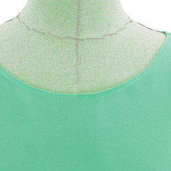 Elegant Scoop Neck Short Sleeve Faux Twinset Design Ruffled Blouse For Women - GREEN GREEN