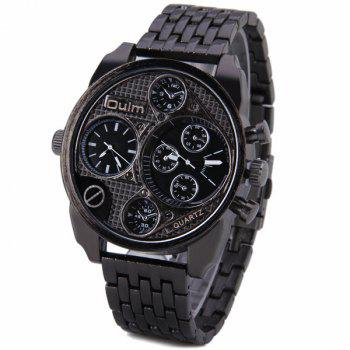 Oulm Unique Waterproof Quartz Watch with Double Movt Analog Indicate Steel Watchband for Men - BLACK BLACK
