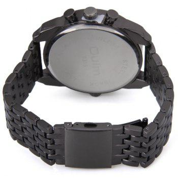 Oulm Unique Waterproof Quartz Watch with Double Movt Analog Indicate Steel Watchband for Men -  BLACK