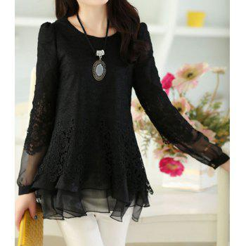 Women's Sweet Scoop Neck Lace Splicing Long Sleeve T-Shirt - M M