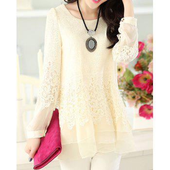 Women's Sweet Scoop Neck Lace Splicing Long Sleeve T-Shirt - OFF-WHITE L