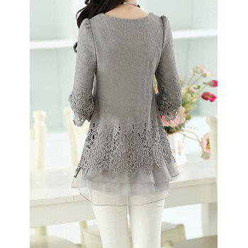 Women's Sweet Scoop Neck Lace Splicing Long Sleeve T-Shirt - XL XL