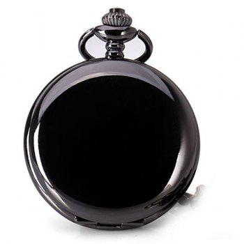 Luxury Design 12 Arabic Numbers Analog Flip Pocket Watch - BLACK BLACK
